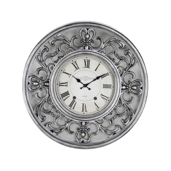 Ornate Clock, 65cm, Antique Silver