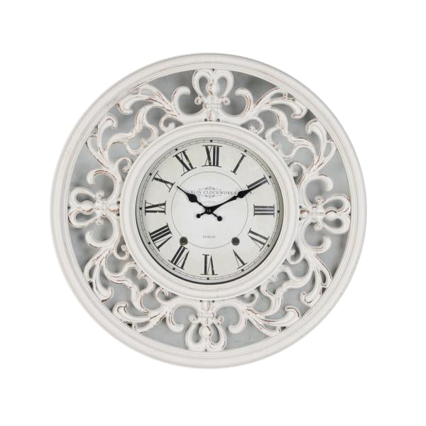 Ornate Clock, 65cm, Antique White