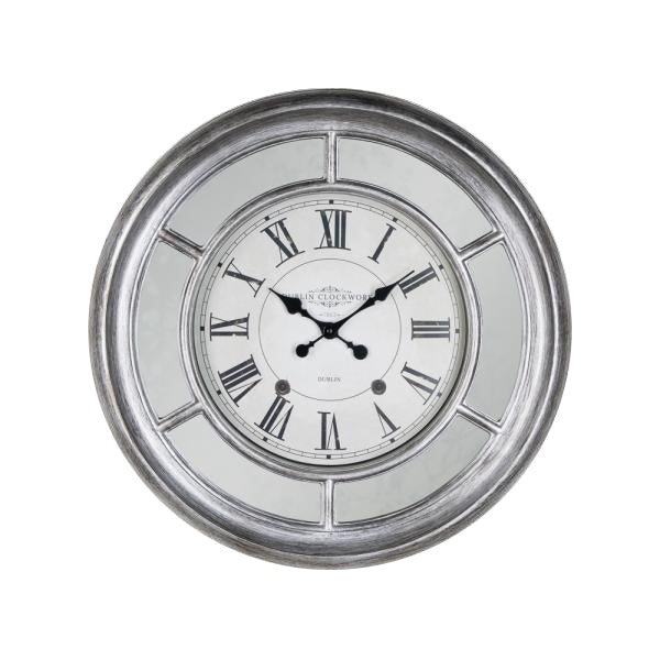 Bella Mirrored Clock, 65cm, Antique Silver