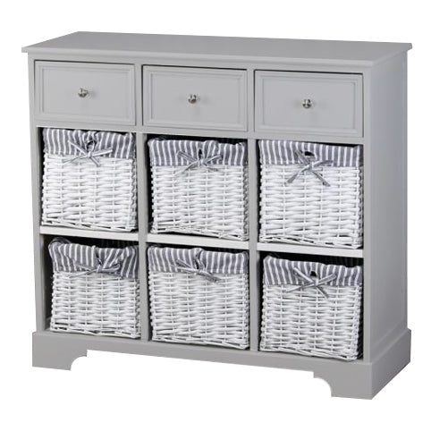 Chester 3 Drawer 6 Basket Storage Cabinet, Grey