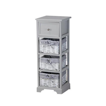 Chester 1 Drawer 3 Basket Storage Unit, Grey