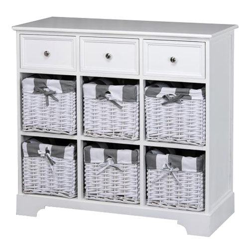 Boston 3 Drawer 6 Basket Storage Cabinet, White