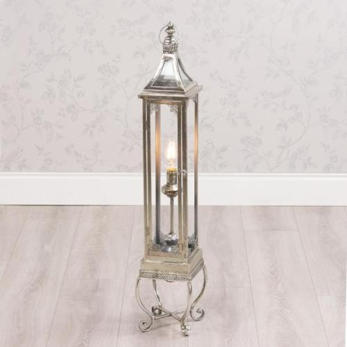 Antique Silver Lantern With Led Light, 85cm
