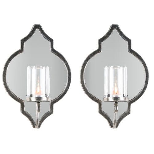 Gatsby Antique Silver Wall Sconce, Set Of 2