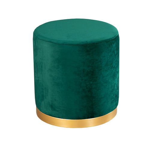 SMOOTH VELVET GOLD RIMMED STOOL, EMERALD GREEN