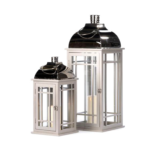 JULIE GREY WOODEN LANTERN WITH CHROME TOP, LARGE