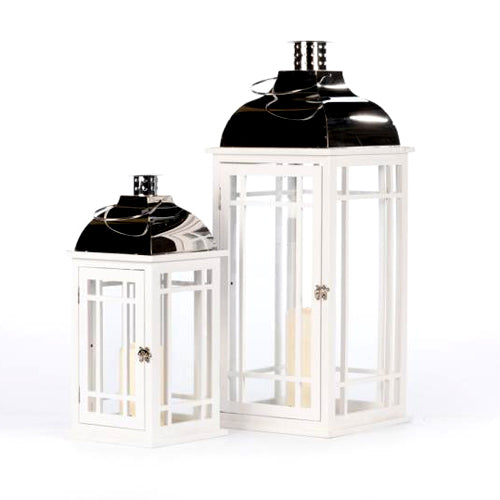 JULIE WHITE WOODEN LANTERN WITH CHROME TOP, LARGE