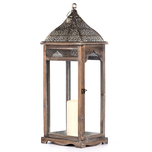 AGADIR RECTANGULAR LANTERN, GREY, 7CM
