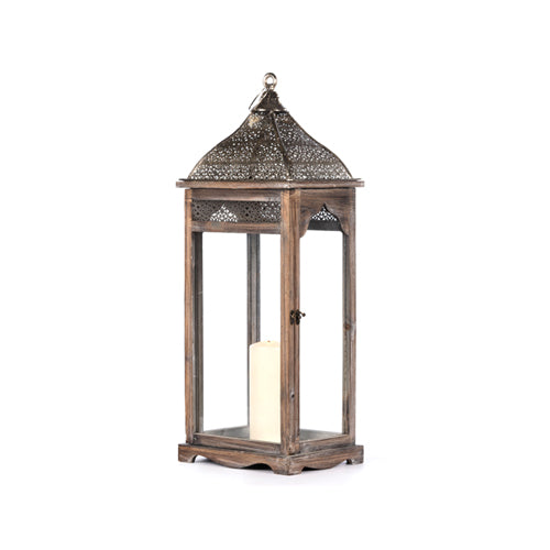 AGADIR RECTANGULAR LANTERN, GREY, 52CM