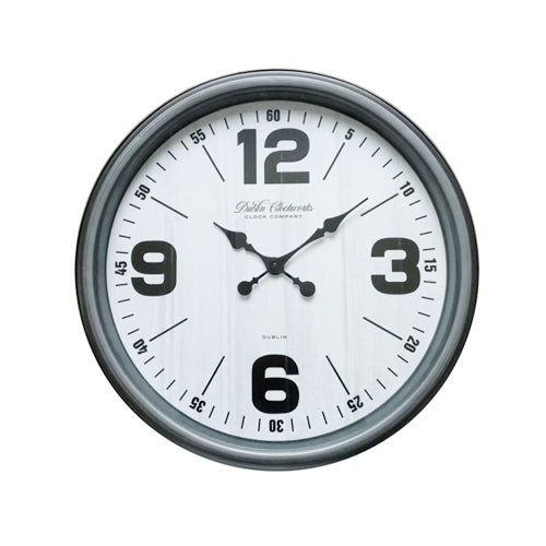 Retro Wall Clock, 50cm, Antique Silver