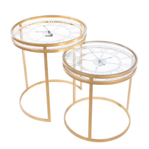 CARLTON ACCENT CLOCK SIDE TABLE, LARGE, GOLD