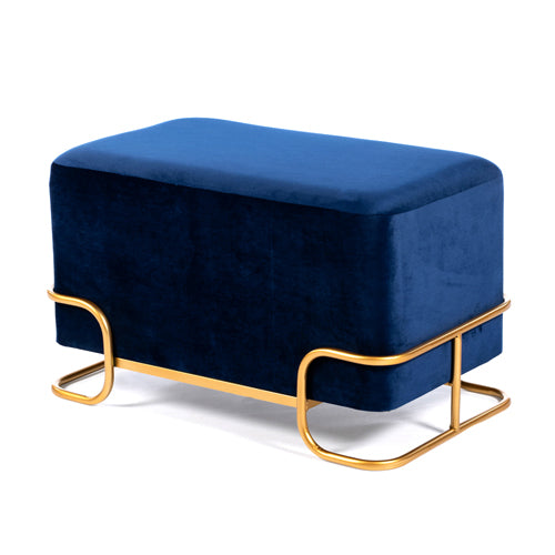 Tivoli Velvet Stool With Gold Legs, Royal Blue