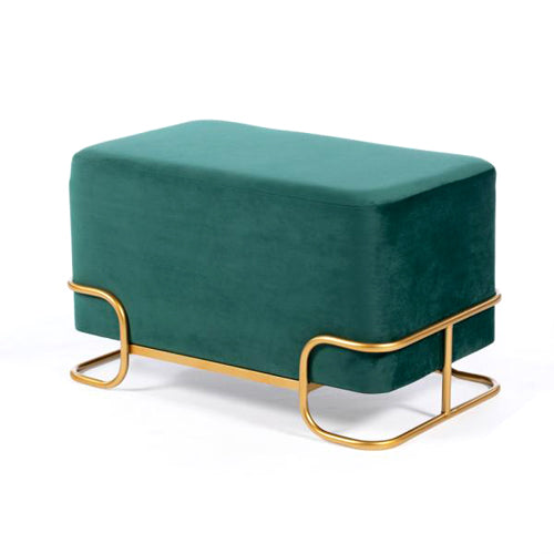 Tivoli Velvet Stool With Gold Legs, Emerald Green