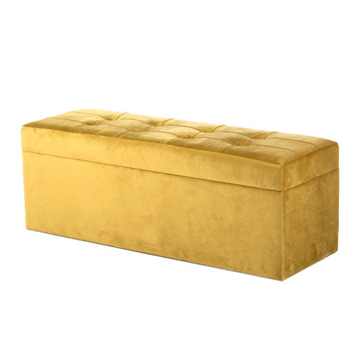 Vienna Velvet Storage Trunk, Mustard Yellow, 120cm