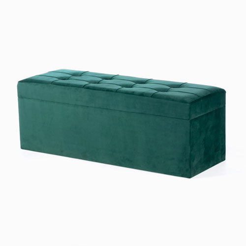 Vienna Velvet Storage Trunk, Emerald Green, 120cm