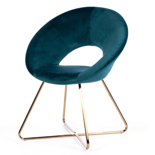 OSLO ACCENT VELVET CHAIR, TEAL**LOW STOCK**