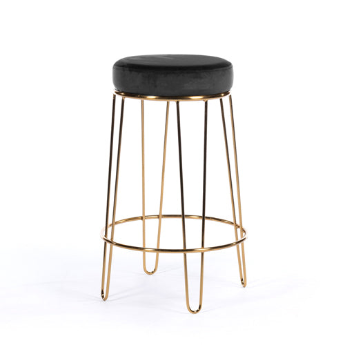 OSLO VELVET BAR STOOL/ISLAND STOOL, CHARCOAL GREY