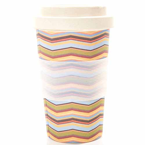 ECO CHIC BAMBOO REUSABLE COFFEE CUP, ZIG ZAGS