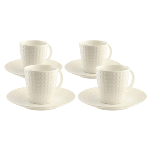 BELLEEK LIVING GRAFTON TEACUPS & SAUCERS, SET OF 4