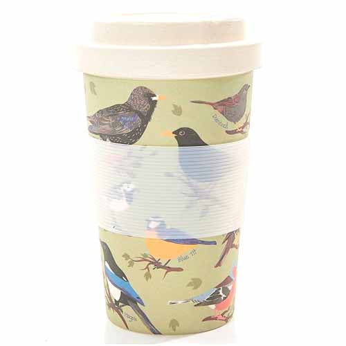 ECO CHIC BAMBOO REUSABLE COFFEE CUP, BIRDS