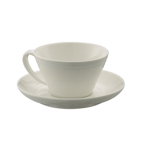 Belleek Living Ripple Tea Cup & Saucer, Set Of 4