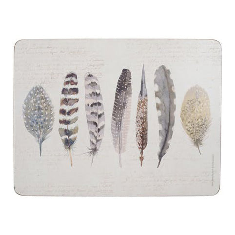 Creative Tops Premium Feathers Placemats, Set Of 6
