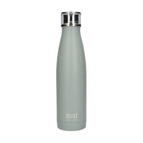 Built Double Walled Stainless Steel Water Bottle, 17oz, Storm Grey
