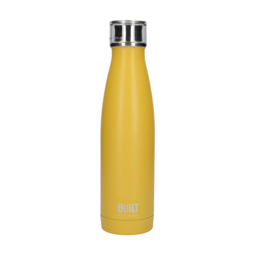 Built Double Walled Stainless Steel Water Bottle, 17oz, Mustard
