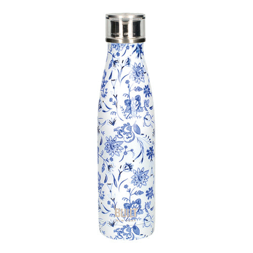 Built Double Walled Stainless Steel Water Bottle, 17oz, Blue Floral