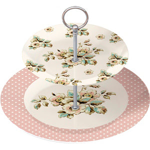 Katie Alice Cottage Flower 2 Tier Cake Stand