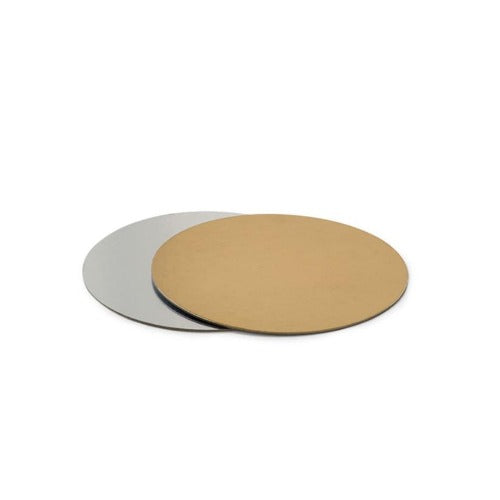 "Double Sided Round Cake Card, Thin, 8"", Silver/Gold"