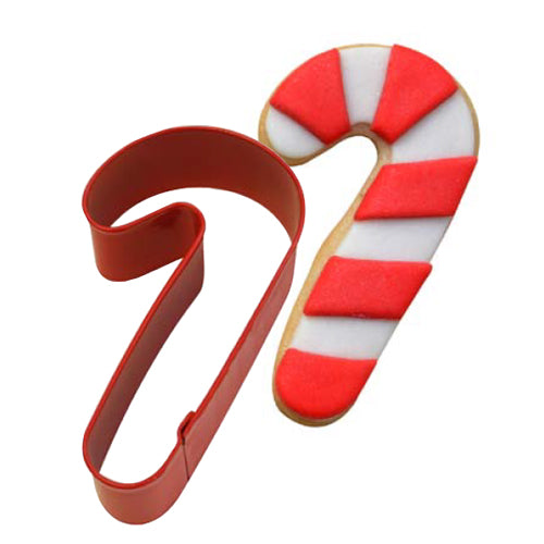 Red Candy Cane Shaped Cookie Cutter, 8.9cm