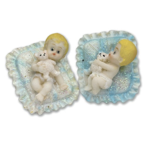 Resin Baby On Cushion Cake Topper Decoration, Blue