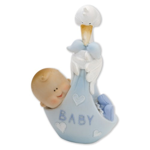 Baby in Stork Carrier Cake Topper, Blue