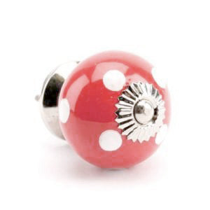 Polka Dot Ceramic Drawer Knob, Red