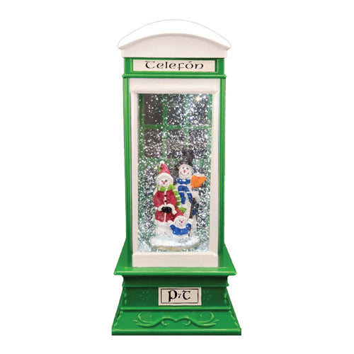 Light Up Christmas Glitter Irish Phone Box, Santa/Snowman