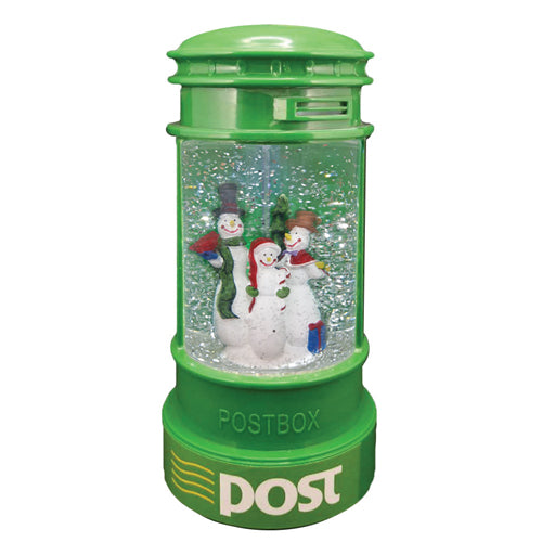 Light Up Christmas Glitter Irish Post Box, Snowmen