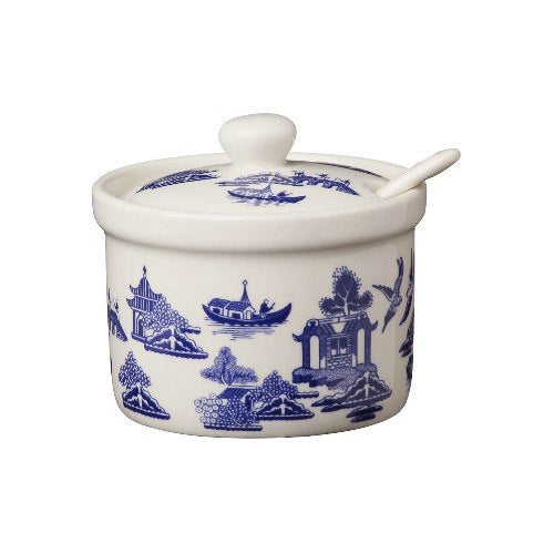 Churchill Blue Willow Pattern Jam/Jelly Pot & Spoon