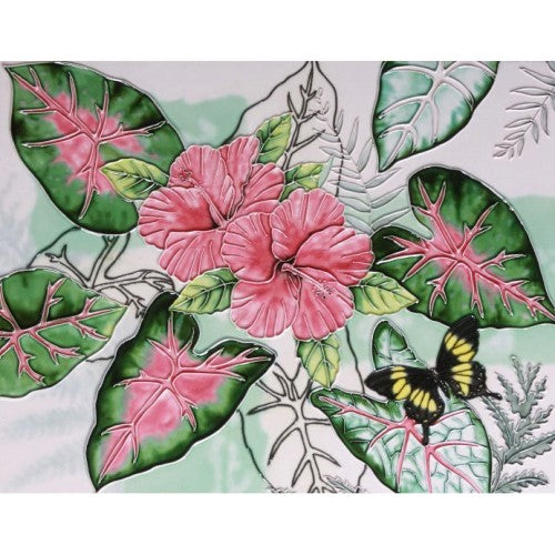 "Benaya Art Ceramic Tiles 'Caladiums', 11"" x 14"""