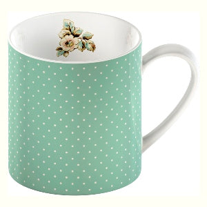 Katie Alice Cottage Flower Fine China Mug, Green Spots