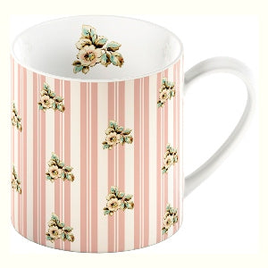 Katie Alice Cottage Flower Fine China Mug, Pink Stripe