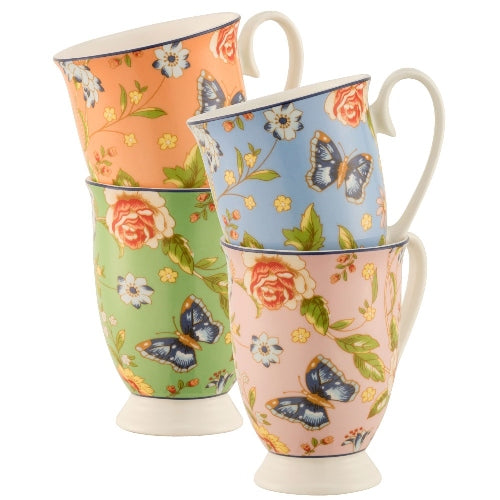 Aynsley Cottage Garden Footed Mugs, Set Of 4
