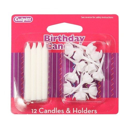 Birthday Candles & Holders, White