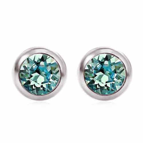 Swarovski Birthstone Stud Earrings, December/Turquoise
