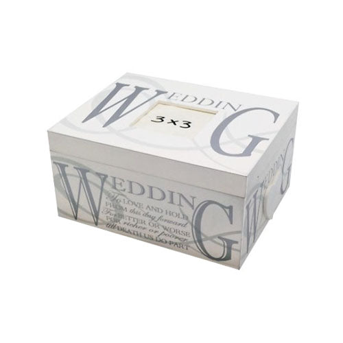 Cream & Silver Wooden Wedding Keepsake Box