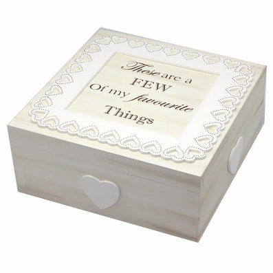 'Favourite Things' Cream Wooden Lace Memory Box