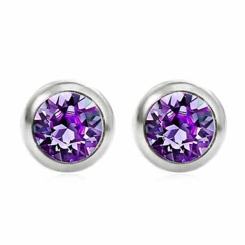 Swarovski Birthstone Stud Earrings, February/Amethyst