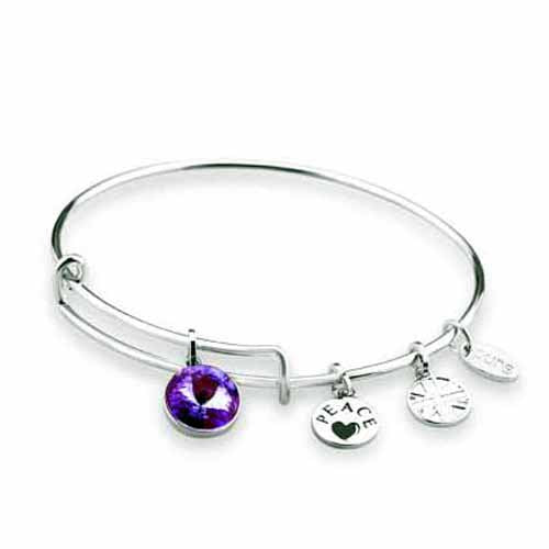 Swarovski Birthstone Bangle, February/Amethyst