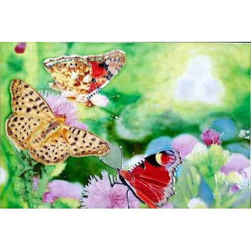 "Benaya Art Ceramic Tiles 'Flower Butterfly', 8"" x 12"""