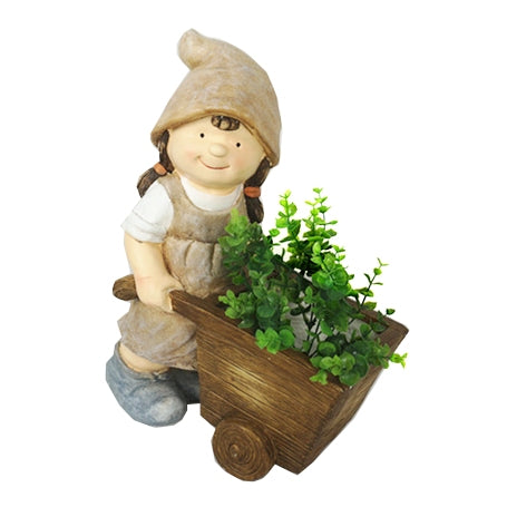 Girl Pushing Wheel Barrow Garden Planter